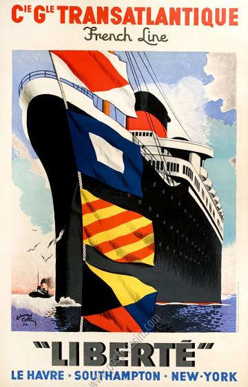 """CGT - French Line : """"Liberté"""", Le Havre, Southampton, New York"""