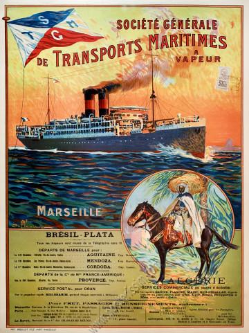 Société Générale de Transports Maritimes à Vapeur : Marseille - Brésil Plata