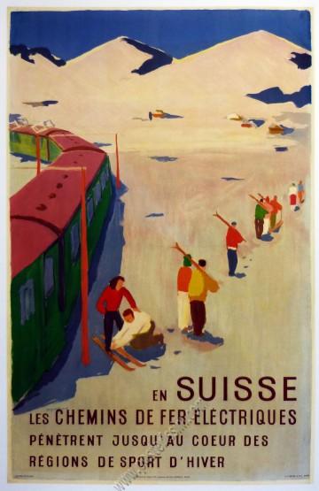 En Suisse, les chemins de fer électriques pénètrent jusqu'au cœur des régions de sport d'hiver