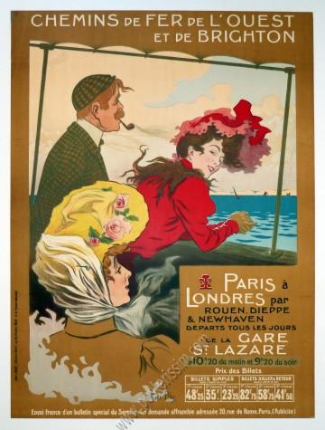 Chemins de fer de l'Ouest : Paris à Londres par la Gare Saint Lazare